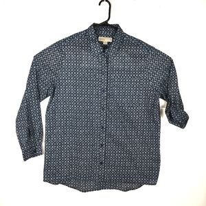 Michael Kors Button Shirt Large Roll Tab Blue EUC